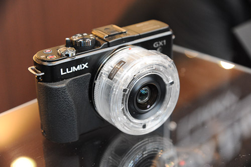 A very cool, see-through and working version of the Lumix G X 14-42mm electronic lens.