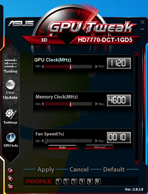 The ASUS GPUTweak is a useful utility for tweaking and managing your AMD Radeon 7000 series of cards. We have also used earlier versions of this software for other cards based on different GPUs.
