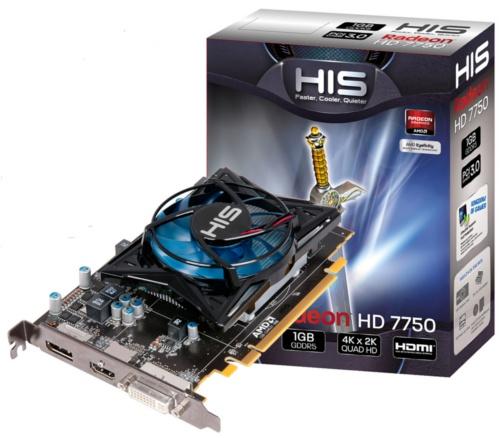 HIS 7750 iCooler 1GB GDDR5 <br> Core Clock: 800MHz <br> Memory Clock: 4500MHz