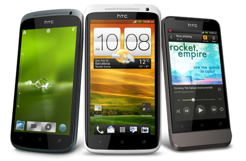 The HTC One series. From left, HTC One S, HTC One X and HTC One V. (Image source: HTC)