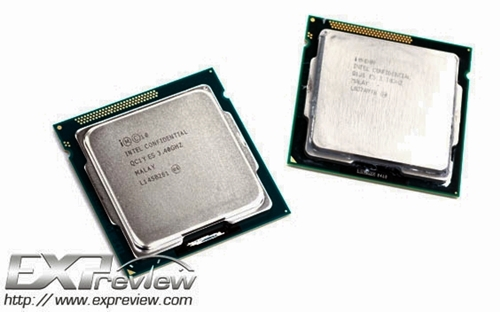On the left is Ivy Bridge Intel Core i5-3570K. (Source: Expreview)