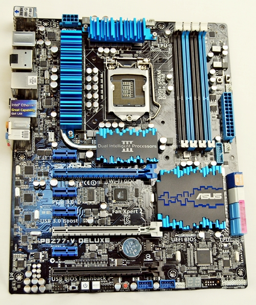 The ASUS P8Z77-V Deluxe motherboard bears the hallmark of a high-end board. There are a number of accompanying components like ASUS Wi-Fi GO! card as well as ASUS front panel USB 3.0 box to give owners of the board a certain level of perceived value for their hardware purchase.