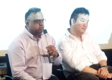MyRepublic CEO Malcolm Rodrigues (Left) and MyRepublic Marketing Manager Lawrence Chan responding to questions during the company's launch event.