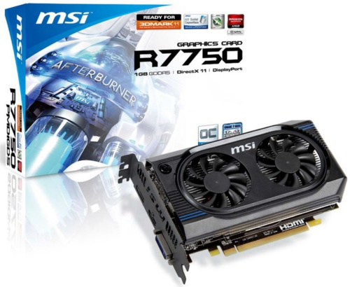 MSI R7750-PMD1GD5/OC <br> Core Clock: 830MHz <br> Memory Clock: 4500MHz