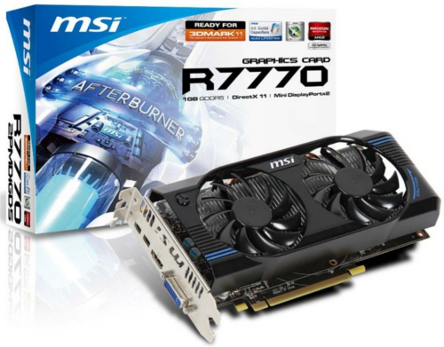 MSI R7770-2PMD1GD5/OC <br> Core Clock: 1020MHz <br> Memory Clock: 4500MHz