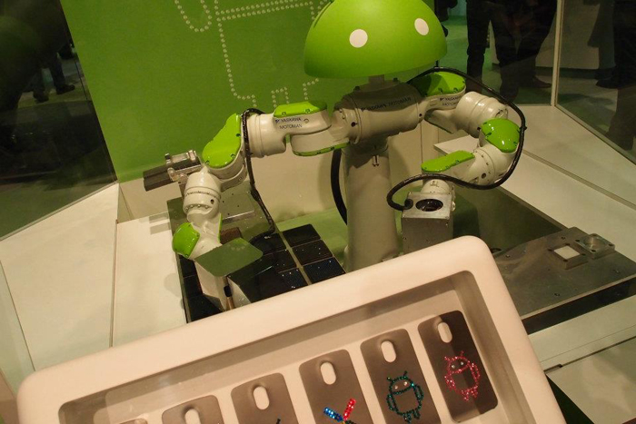 An actual Android robot. And right beside it, we have...