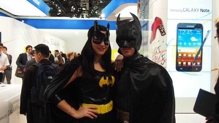 Nah nah nah nah nah nah nah nah, Batman! And Batgirl too. This isn't the first time we saw super heroes at a trade show. We also spotted Superman and Wonder Woman at CES 2012.