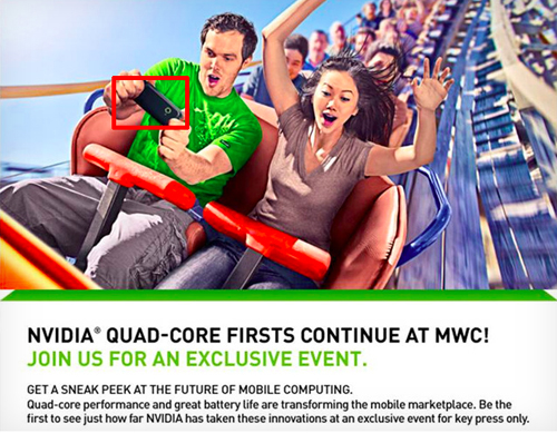 """The words """"quad-core"""" and the smartphone being held in the guy's hands are good hints to what NVIDIA will be announcing at MWC 2012. (Image source: NVIDIA)"""