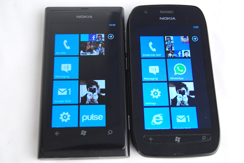 In comparison, the Lumia 800 (left) and its angular edges don't feel as comfortable as the curved design taken by the Lumia 710 (right).