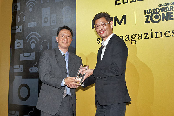 Oki won the Editor's Choice award for Best SOHO Color LED MFP. On stage receiving the award was Mr. Cheang Mun Pun, Business Manager for Singapore, Oki.