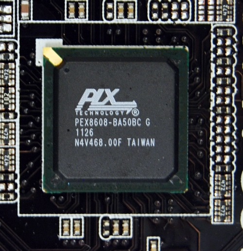 The PLX PEX 8608 offers eight additional PCIe 2.0 (5GT/s) lanes to the board.