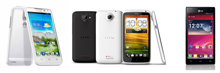 Meet the quad-core family: from left, Huawei Ascend D Quad, HTC One X and LG Optimus 4X HD.