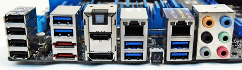The left block of ports are USB 2.0 and the two USB 3.0 ports sit above the eSATA ports. The gap between these two blocks of USB ports will be filled by ASUS Wi-Fi GO! module.