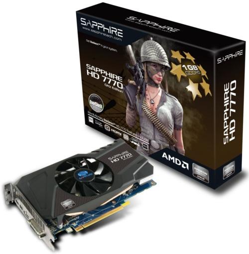 Sapphire HD 7770 GHz Edition OC 1GB GDDR5 <br> Core Clock: 1150MHz <br> Memory Clock: 5000MHz
