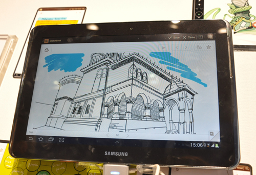 Samsung has redesigned the S Pen for the Galaxy Note 10.1 to be more sensitive to pressure than the Galaxy Note, which makes for a highly organic drawing experience.
