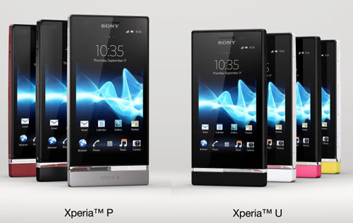 Just announced, the Sony Xperia P (left) and Xperia U (right). (Image source: Sony Mobile Communications)