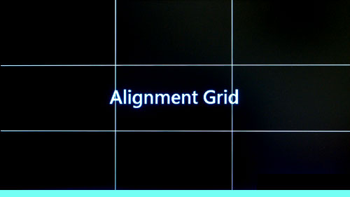 The alignment grid divides the screen into a 3 by 3 grid. Each rectangle is about 17 x 9.5cm.