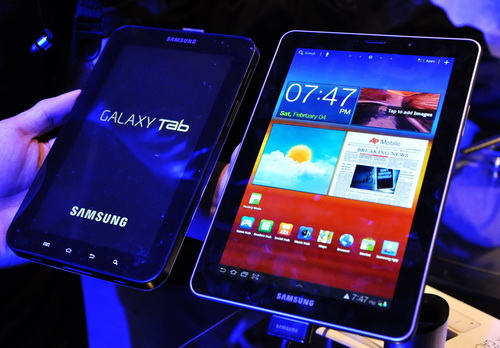 Look how far we've come: the original Samsung Galaxy Tab 7.0  from 2010 next to the latest Galaxy Tab 7.7.