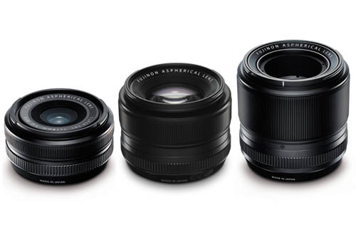 Three lenses will be available at launch, a 18mm F2 (left), a 35mm F1.4 (middle) and a 60mm F2.4 Macro (right).