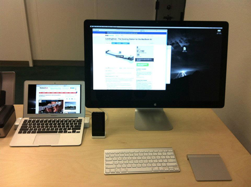 A simple setup demonstrating how the MacBook Air can be converted into a desktop with the help of the LandingZone and other peripherals. (Source: landingzone.net)