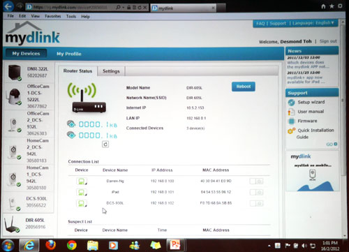 Screenshot of 'mydlink' portal - Cloud devices added on to your 'mydlink' account are listed on the left column. From here, you may configure D-Link's Cloud devices regardless of where you are at in the world as long as you are connected to the net.