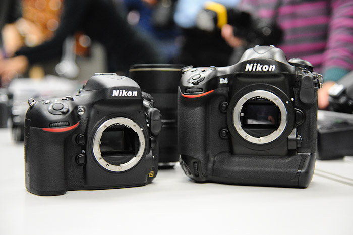 The new Nikon D800 (left) and D4 (right).