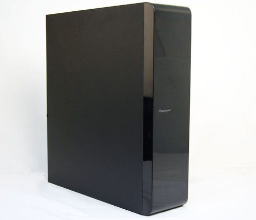 The Pioneer S-BD808SW slim subwoofer is meant to handle the low frequencies.