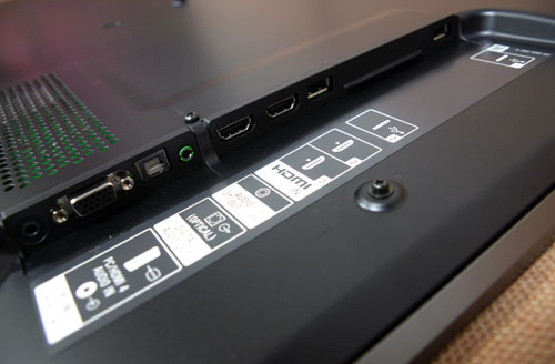 Commonly used IO terminals are found on the side panel, which include two USB slots, two HDMI 1.4a ports, and a VGA PC input. Audio selections such as an optical and a headphone output are featured here as well. The side panel isn't too deeply recessed which makes it fairly easy to access.