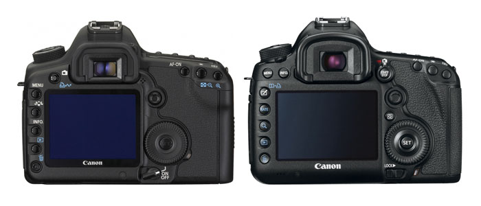 The 5D Mark II (left) and the Mark III (right). Image not to scale.