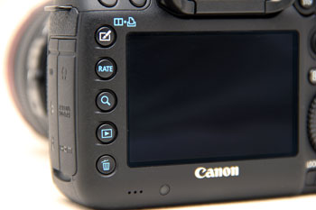 There are no Magnify In/Out buttons on the Mark III, zooming is done by pressing the Magnify button and using the main dial.