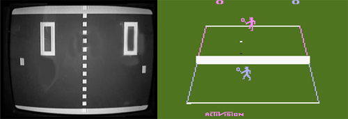 LEFT: Pong / RIGHT: Tennis for the Atari 2600 (Image source: arstechnica.com)