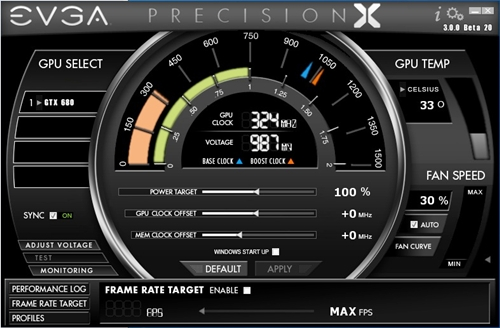 The slick and polished interface of EVGA PrecisionX utility software. The sliding bars adjust the Power Target, GPU Offset Clock and Memory Overclock Offset. We shall look at the settings shortly. In summary, this nifty piece of software provides information about the card at a glance and allows power users to tweak hardware settings of the card with relative ease.