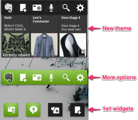 The updated Evernote widget app (Source: Evernote)