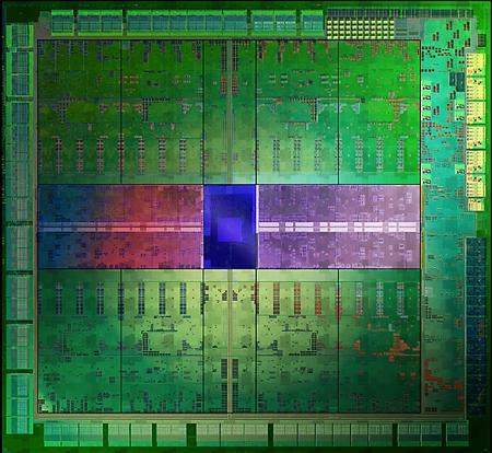 The die shot of GeForce GTX 680 GPU with an area of 294 square mm. Its die size has shrunk about 43% when compared to GeForce GTX 580; however, GTX 680 packs in 3.54 billion transistors versus GTX 580 transistor count of 3 billion!