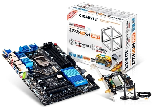 From what we observed from the stock pictures of Gigabyte Z77X-UD5H WiFi board, it supports dual LAN. We also spy the inclusion of D-Sub and DVI connectors.