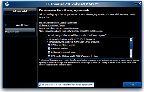 The HP Smart Install program works only on Windows, but not on Mac. For the latter, use the provided installation disc.