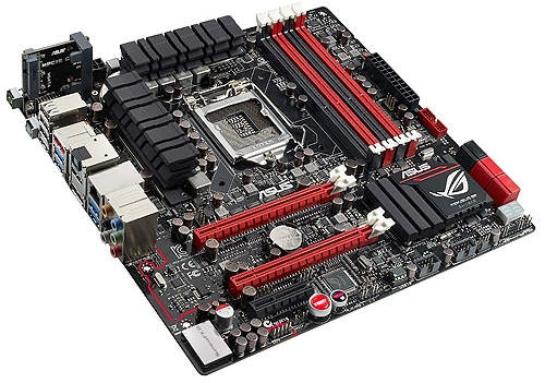 The ASUS ROG Maximus V Gene has four DIMM slots and two PCIe Gen 3.0 x16 slots (x8/x8 with both slots are populated). It sports two native SATA 6Gbps connectors and four native SATA 3Gbps ones. Third party SATA connectivity is provided by ASMedia SATA controllers.