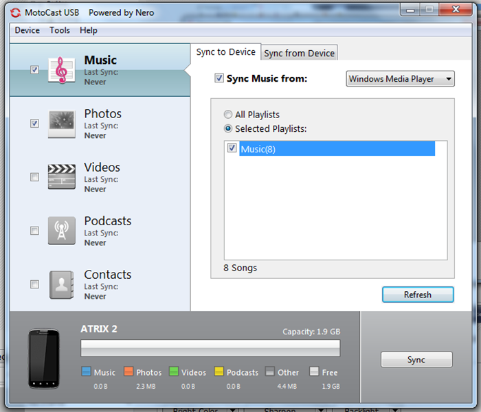 The software also allows users to sync your phone with iTunes or Windows Media Player.