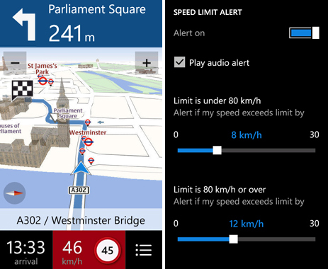 Update your Nokia Drive app and you'll now find offline access and speed limit alerts within the app. (Image source: Nokia)