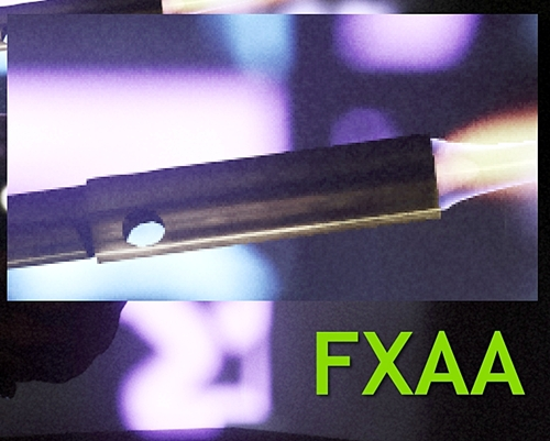 The same rendered scene as above with NVIDIA FXAA, the edge of the blowtorch seems a lot smoother than the one above!