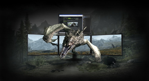 The GeForce GTX 680 can drive three 3D monitors plus one extra for browsing or chatting. NVIDIA calls this 3D Vision Surround. The previous generation GPUs could only drive a maximum of two 3D monitors.