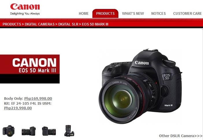 Canon Eos 1d X 5d Mark Iii Now Up On Canon Ph Website