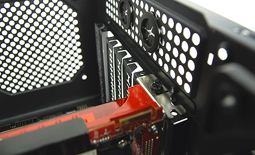 Expansion slots have slot covers that need to be bashed out. Also, good old screws are required to install your PCI/PCIe devices.