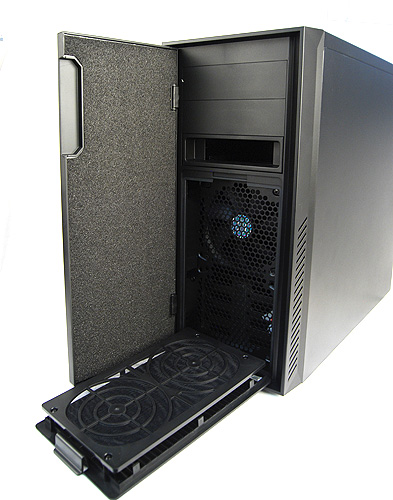 The front panel is held in place by hidden magnets. Note the thick sound dampening foam. Opening it reveals the two 5.25-inch external drive bays and hot swappable X-dock. Lastly, the dust filters for the front fans can be easily removed for cleaning.