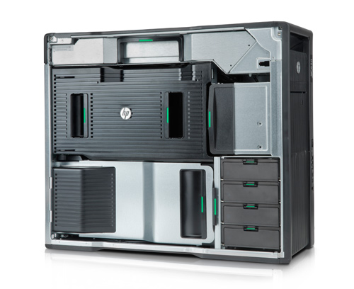Inside the HP Z820. You can tell that HP has designed the workstation for optimal airflow and performance while enabling users to add, upgrade and service the system with ease.