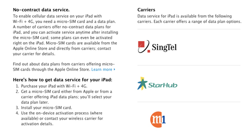 All three telcos have been listed on the Apple Singapore page. Unfortunately, there won't be LTE support from the three telcos for the new iPads. (Image source: Apple Singapore)