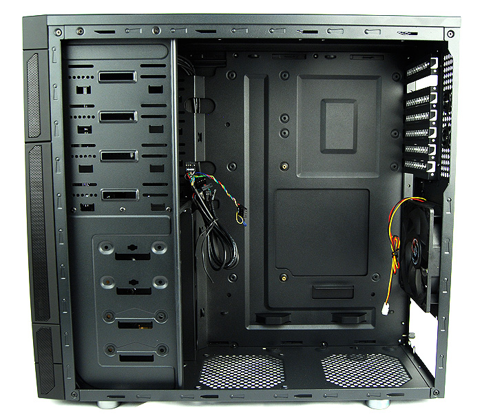 A look at the internals of the Outlaw. Note the position of the CPU cutout in its inverted motherboard layout.