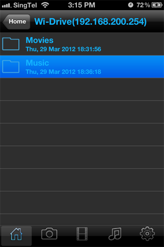 The Wi-Drive app is pretty basic and makes an attempt at sorting out your various file. However, it's best you organize themselves by creating your own folders in the drive itself.