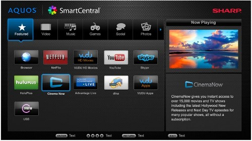 Sharp's SmartCentral hub will feature a clean blueprint with centralized tabs for the various medias like music and videos. It will also offer up to three unique profiles for users to store their Smart TV preferences.