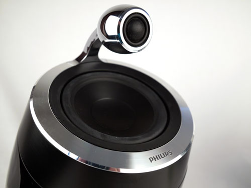 "The elevated 25mm soft dome tweeters are encased in a thick aluminium enclosure, while the 127mm mid-bass drivers are angled slightly forward to ensure ""reproduced sound reaches the listener at the same time""."
